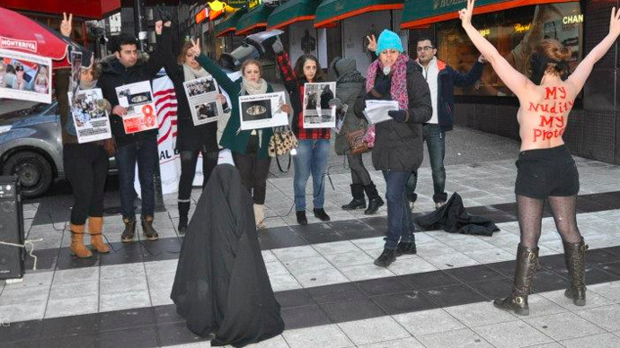 femen iranian topless protest in stockholm